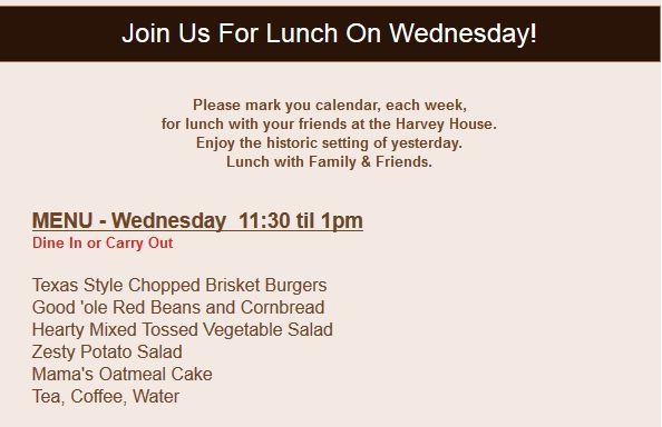 Harvey House Lunch Menu 11062013