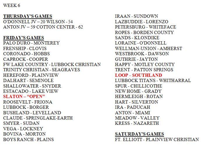 week 6 area football