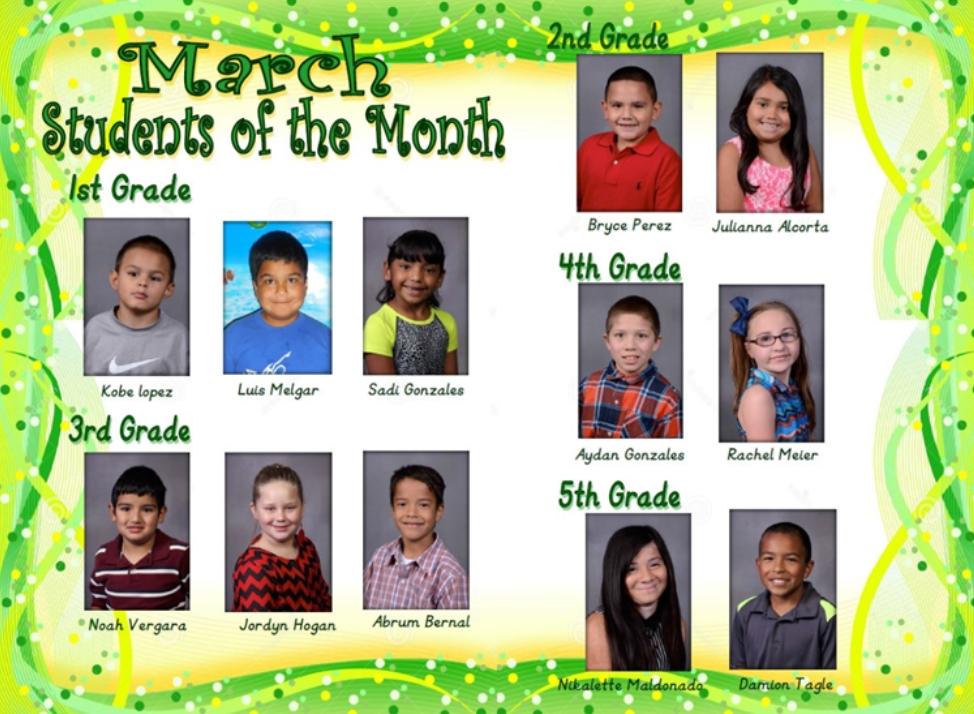 Students of Month Slaton ISD March