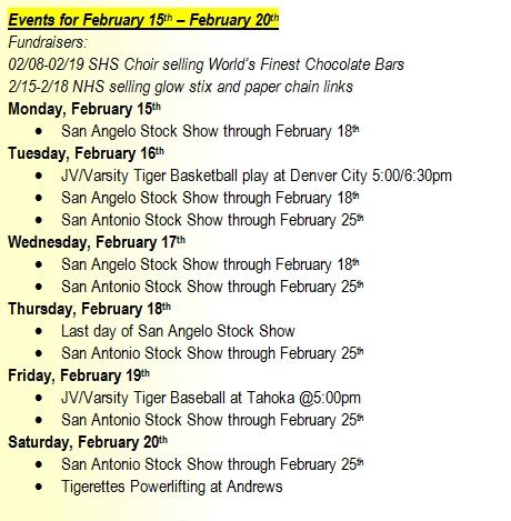 SHS Events Feb 15