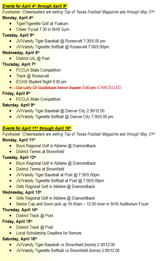 SHS Events Apr 4