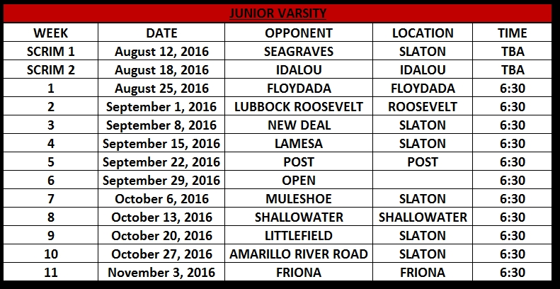 SHS Junior Varsity Footabll 2016