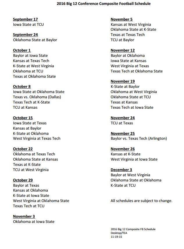 Big 12 2016 Football Schedule