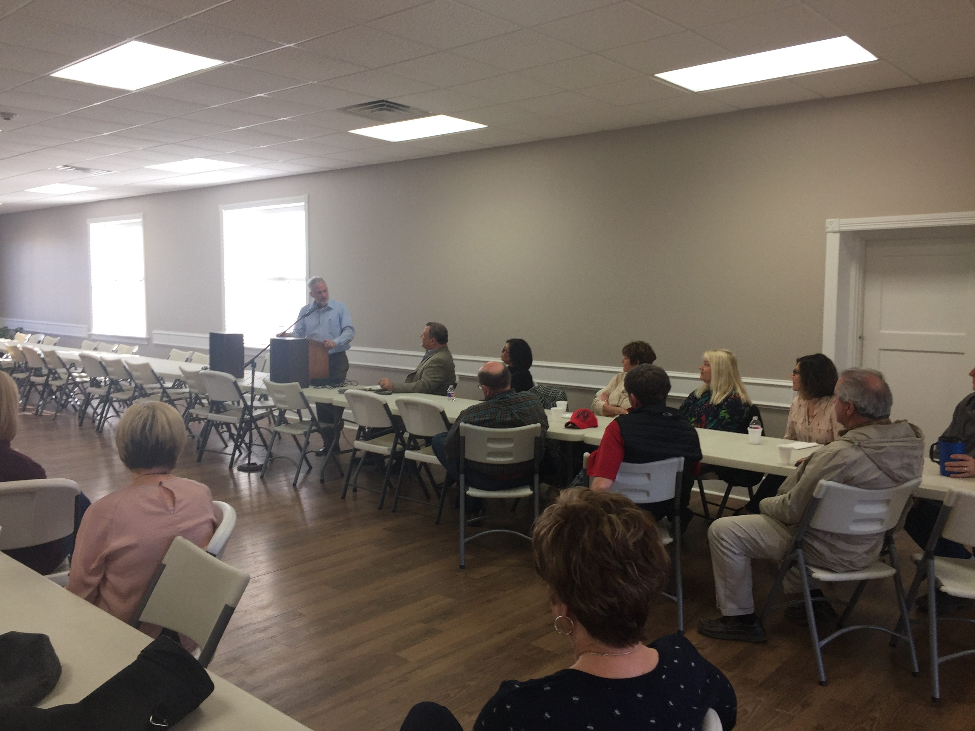Steve Warren is presenting the program to Slaton Area Endowment Community Development Meeting