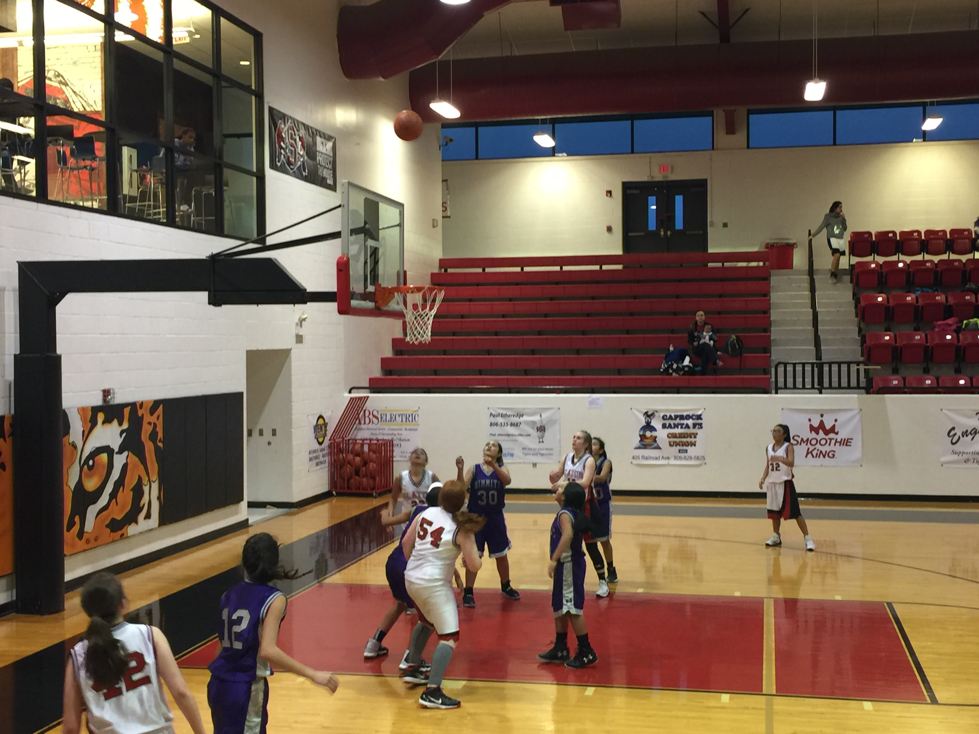 7th grade girls in action this evening.