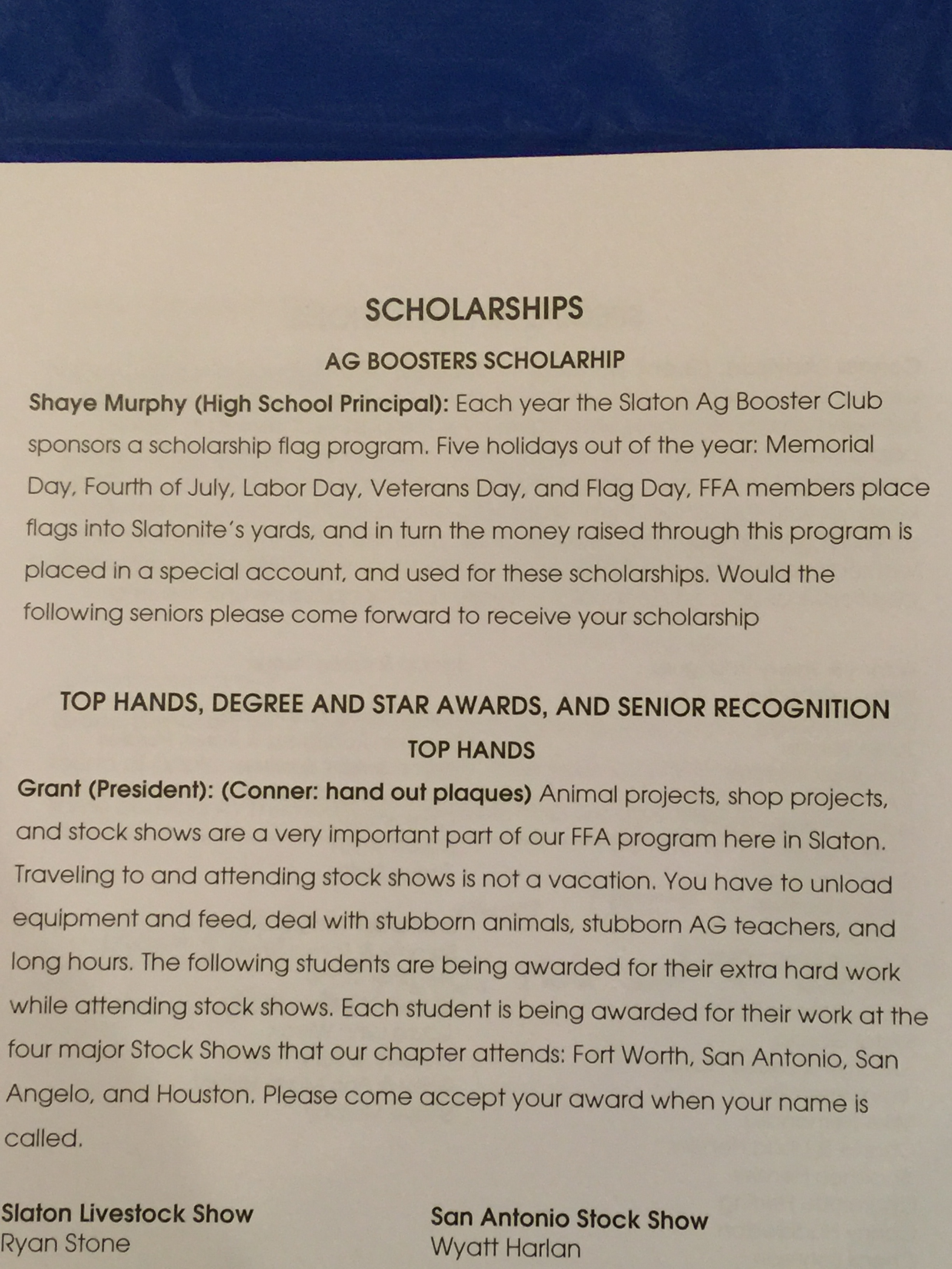 The Special Scholarship program!