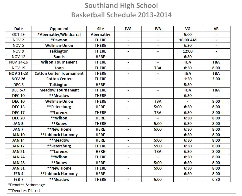 southland high school basketball schedule